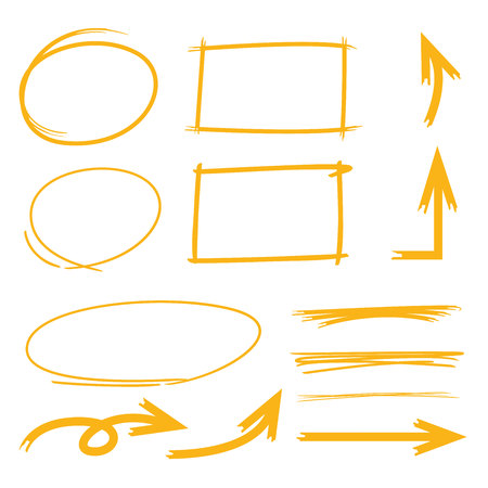 arrows circle: highlighter elements, circle rectangle markers, arrows