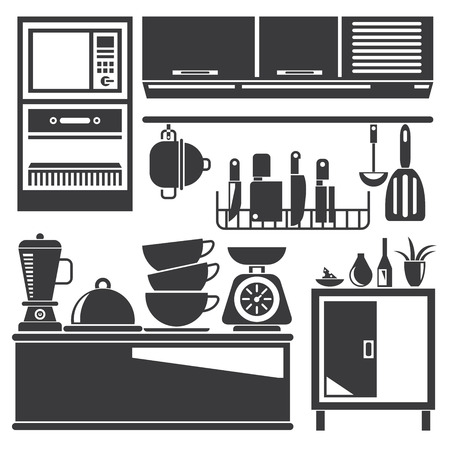 kitchen cabinet: kitchen appliances Illustration