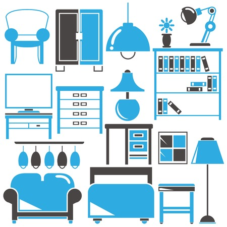 home office: office, home furniture icons Illustration