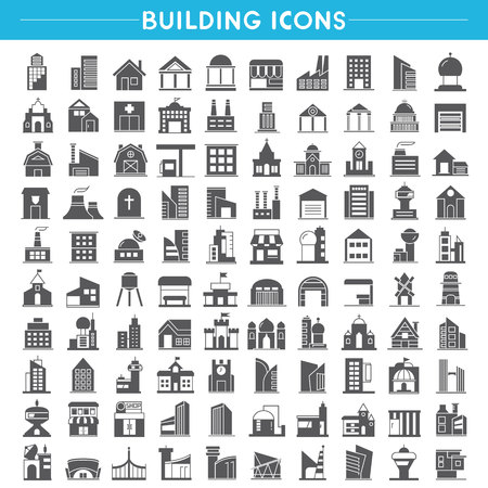 building icons, home icons, office building icons vector set