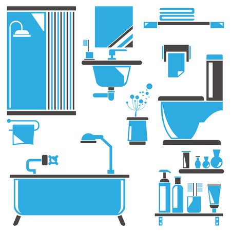 washbowl: bathroom design, vector icons