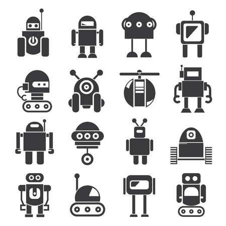 cartoon space: robot icons
