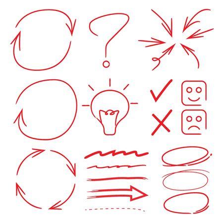 emphasis: vector arrows, circles, underlines