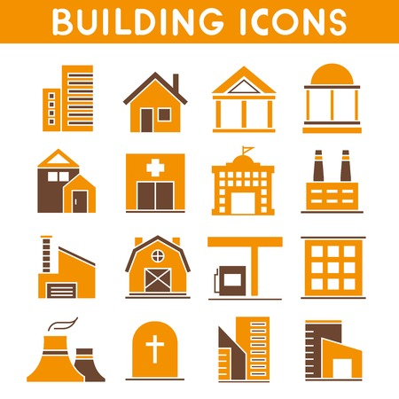 simplus: building icons, orange color theme
