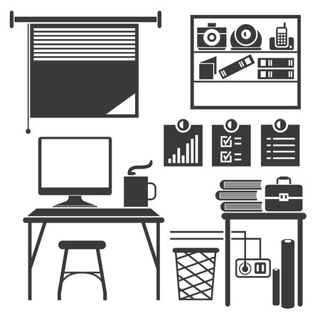 office furniture: office furniture icons Illustration