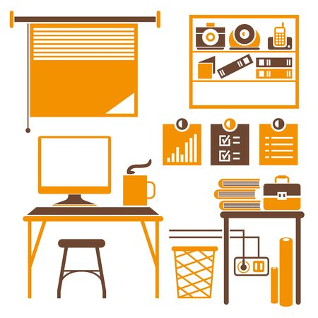 window shade: office room, furniture icons