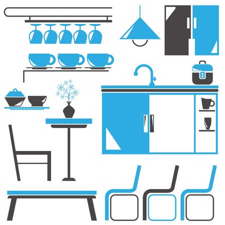 kitchen illustration: itchen and furniture icons, household appliance