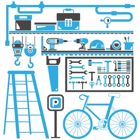 Garage Zimmer, Werkzeuge Vektorgrafik