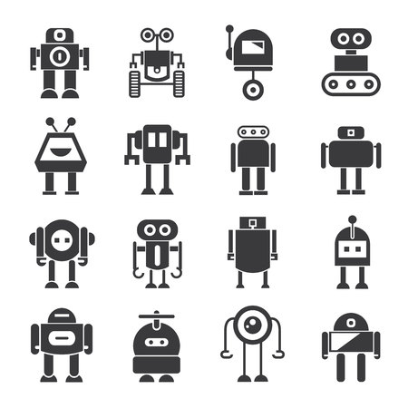 cartoon mascot: robot icons