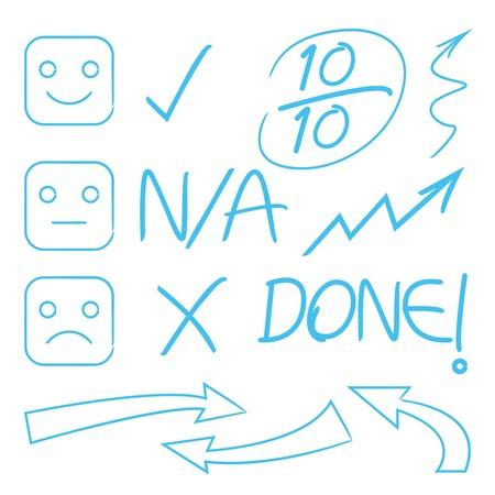 grade: grade marks, points, emoticons, arrows