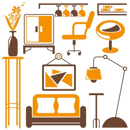 home furniture: home decoration, home furniture icons