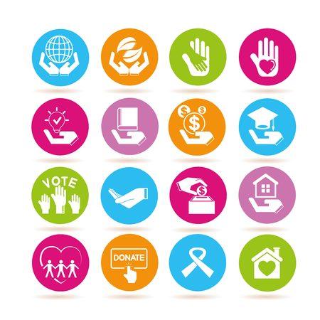 sheltering: donate icons Illustration