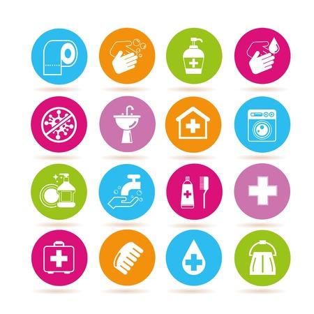 medical shower: hygiene icons Illustration