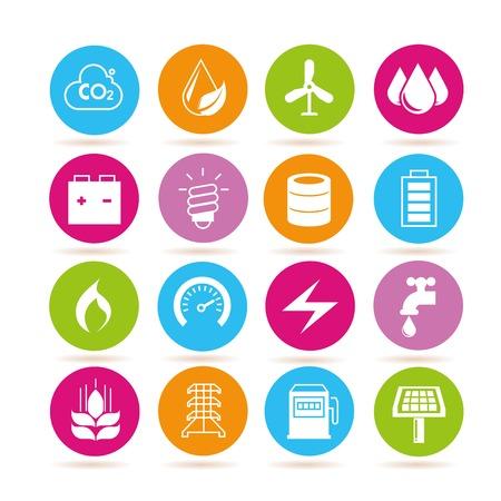 pluviometro: potencia y energía iconos