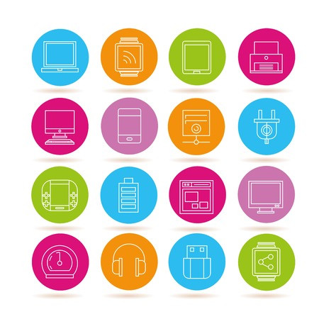 electronic tablet: electronics and gadget icons