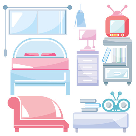 bedroom furniture: home furniture, bedroom Illustration