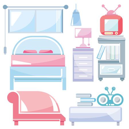 luxury homes: home furniture, bedroom Illustration