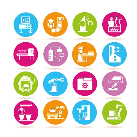 conveyer: manufacturing icons, robotics icons Illustration