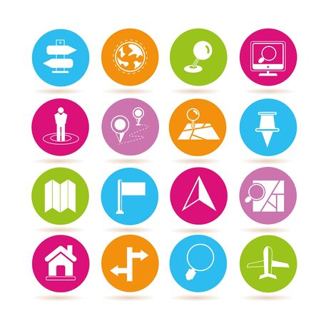 home search: map icons Illustration