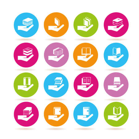 treatise: hand holding book icons Illustration