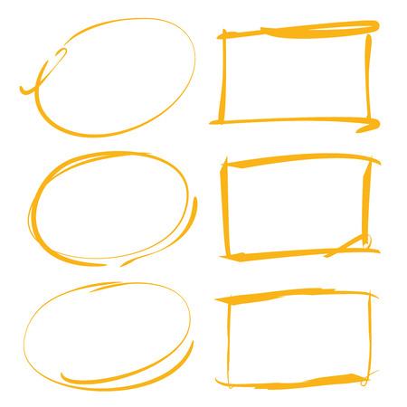 yellow hand drawn rectangle frames, circles