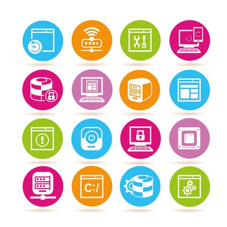 network and internet security icons Vetores