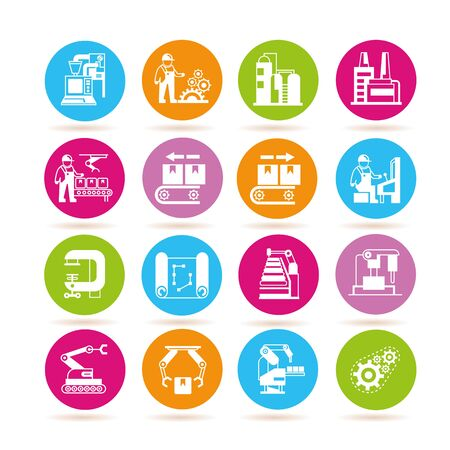 conveyer: manufacturing icons, industry icons Illustration