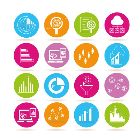 criterion: data analytics and network icons Illustration
