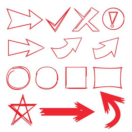 handwritten: arrows, circle markers, rectangle frames