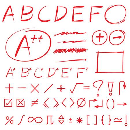 emphasis: math sign, grade results, markers Illustration