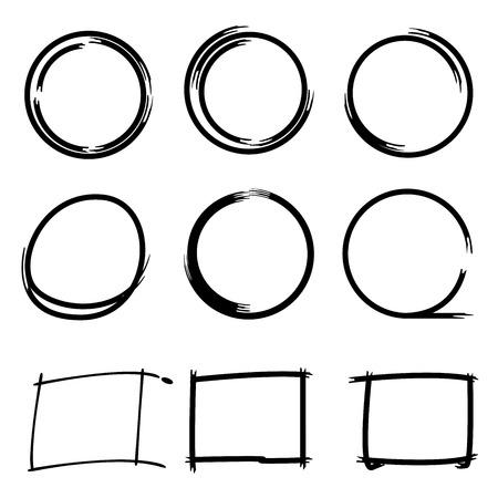 grunge circle rectangle markers