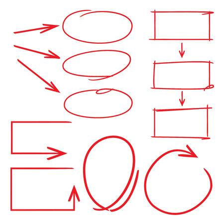 garabatos: flechas dibujadas a mano elementos de diagrama de círculo