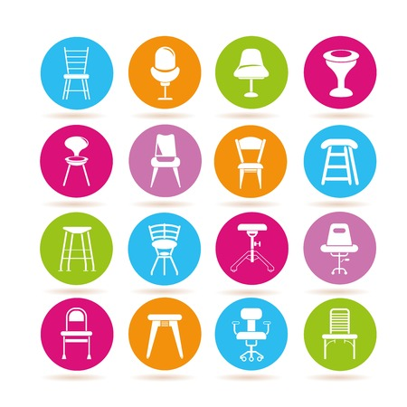 table decor: chair and sofa icons Illustration