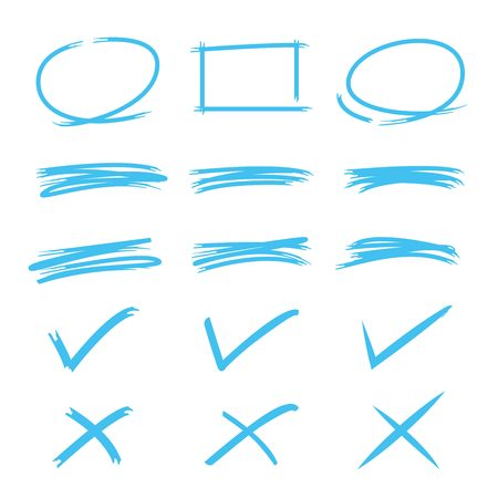 marks: check marks, underlines, circle markers Illustration