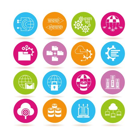 compute: data analytics and network icons Illustration