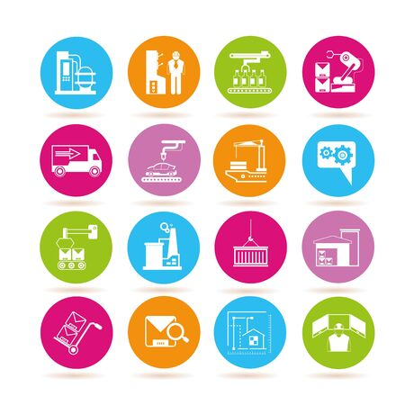 conveyer: manufacturing icons, engineering icons, factory icons Illustration