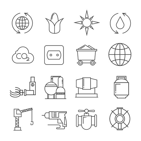 industry icons: industry icons, energy icons Illustration