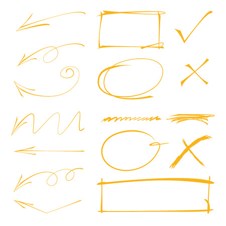ティック マーク、矢印円、四角形、下線