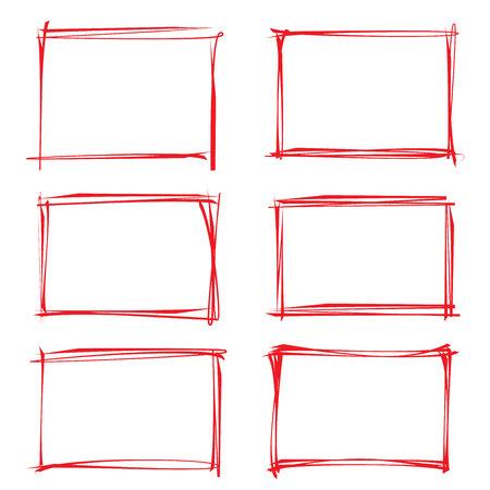 emphasis: hand drawn frames, red grunge rectangles