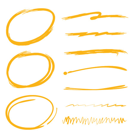 underlines, brush lines, highlighter circles Фото со стока - 56281207