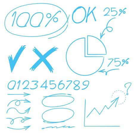 flechas curvas: marcador, marca de verificación, y el número de