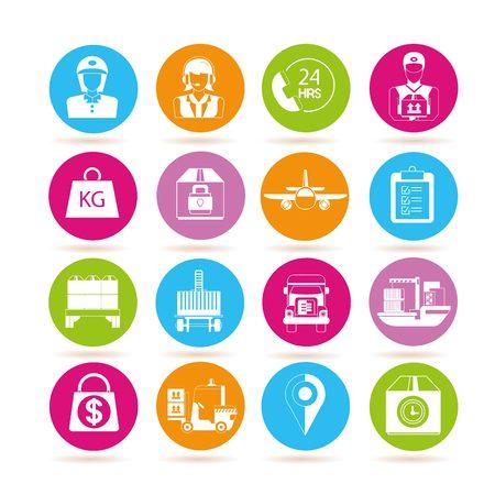customer service representative: shipping icons, logistics icons Illustration