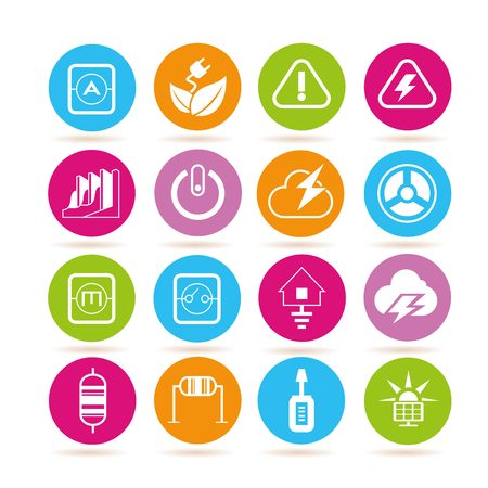 electricity: energy and electricity icons