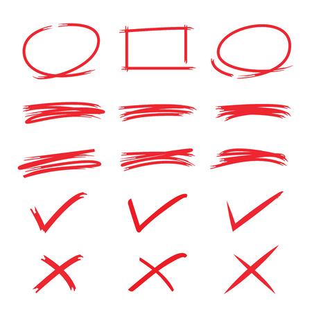 emphasis: circle frames, rectangle frames, check mark
