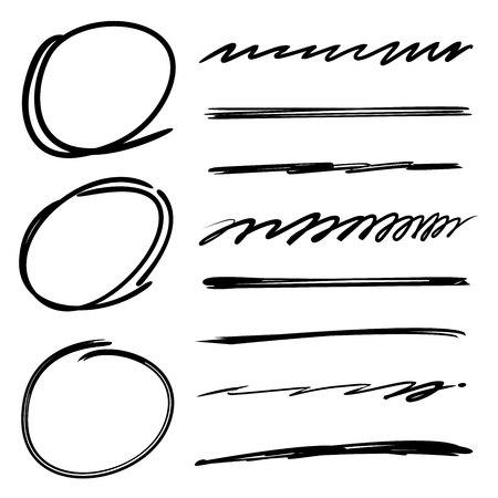 circles, underline, highlighter set Illustration