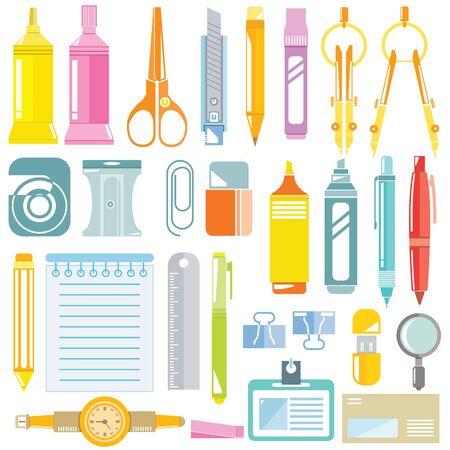 papeleria: iconos de escritorio, iconos de artículos de oficina