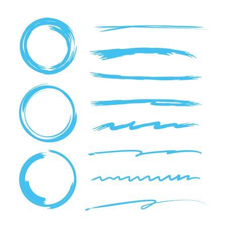 Hand gezeichnet blau unterstreicht Kreise
