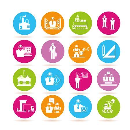 conveyer: engineering and manufacturing icons Illustration