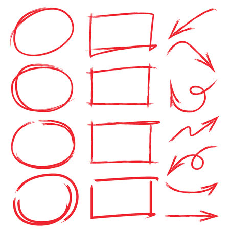 marker set, arrows, check marks, red underlines