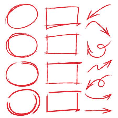 underscore: marker set, arrows, check marks, red underlines